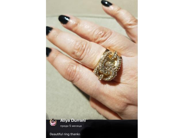 Дамски пръстен злато и циркон, нов